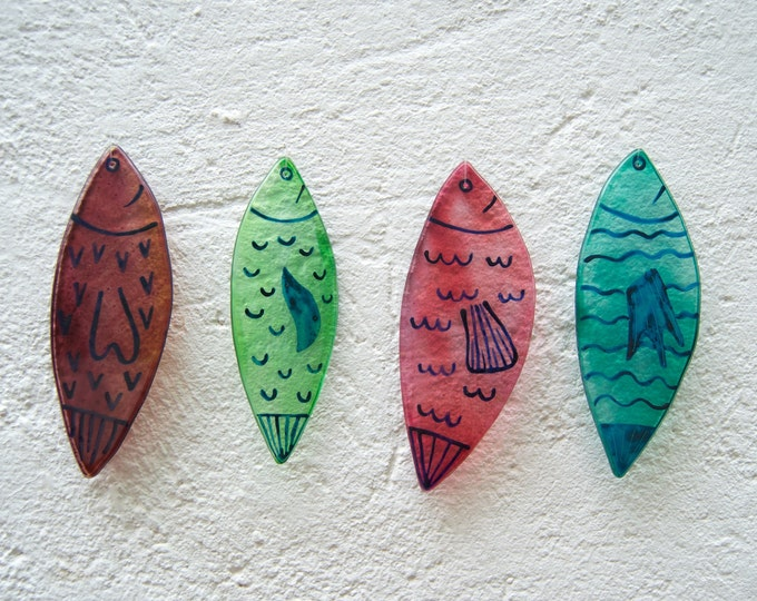 Fishes Wind Chimes - Wind bell - Glass - Hand painted - Fishing - Summer - Sea - Beach - Nautical - Sea breeze - Ready To Ship