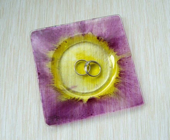 Ring dish - Glass - Purple and yellow - Hand painted glass - Jewelry organizer dish - Trinket dish - Candle holder - Ready To Ship