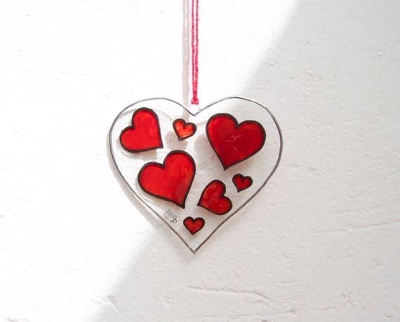 Heart - Tiffany Stained Glass - Red hearts - Love - Window panel - Suncatcher - Wall hanging - Hanging panel - Home decor - Ready To Ship