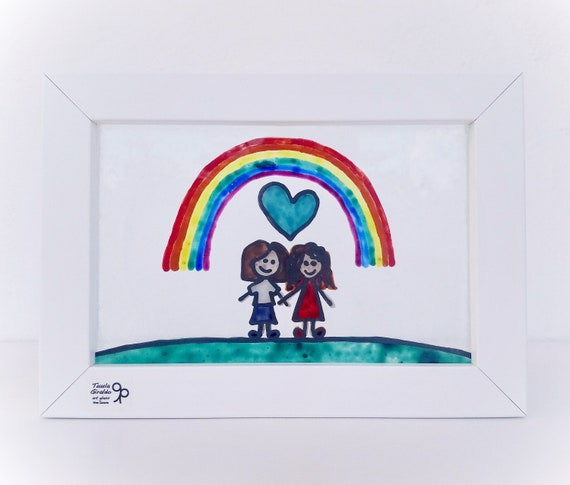 Gay Pride - LGBT - Rainbow - Love - Heart - Glass picture of lesbian couple in love - Desk - Hang on the wal - Ready To Ship