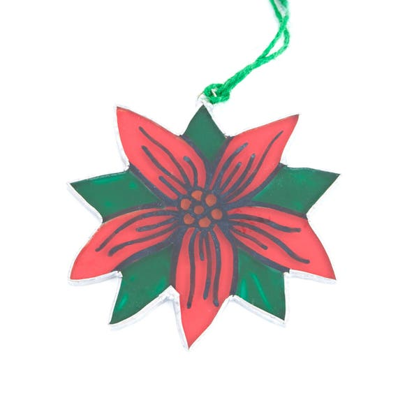 Poinsettia. Christmas glass ornament to hang on the Christmas tree, in the window, wall or ceiling. Stained glass Tiffany. Ready to ship