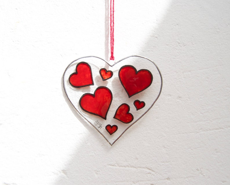 352eadc70842 Heart Tiffany Stained Glass Red hearts Love Window