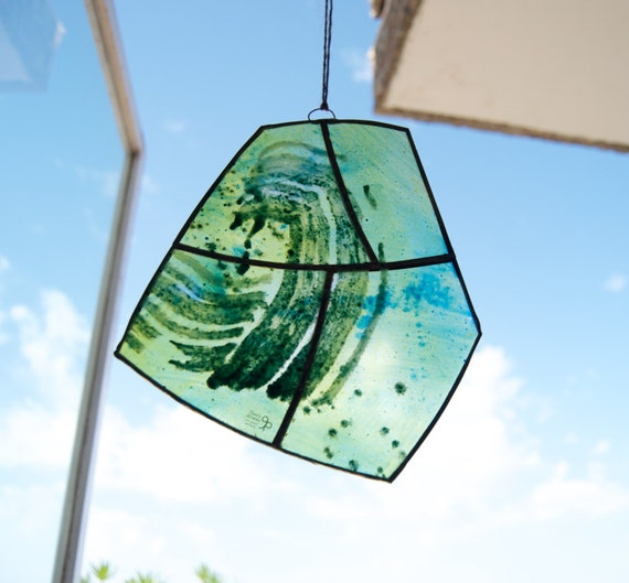 Tiffany Stained Glass - Green - Window panel - Suncatcher - Wall hanging - Hanging panel - Home decor - Ready To Ship