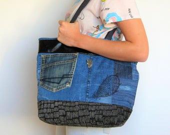 Sac en jean recyclé patchwork,sac à langer en jean,tote bag en jean, sac week-end en jean,sac à main en jean,cadeau femme,cadeau ado fille