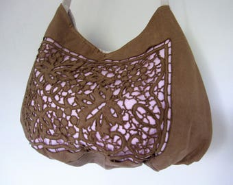 Sac besace dentelle femme toile ancienne,sac porté épaule,sac bandoulière,sac fourre tout toile,cadeau femme,sac fleuri,sac vintage,bobo