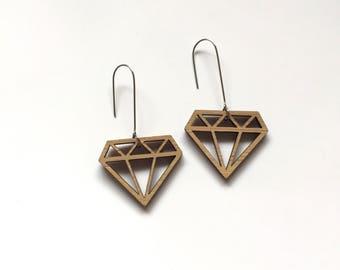 Bamboo diamond drop earrings