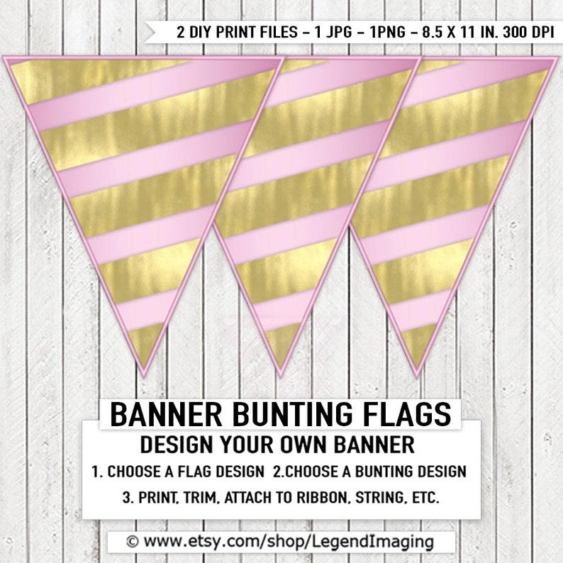 5de973206295b Pink Gold Baby Shower Banner Bunting Gold Foil Stripe