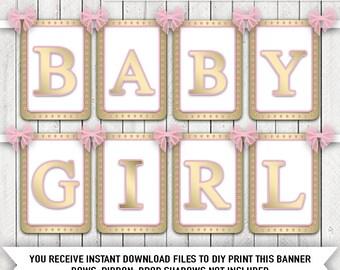 Elegant Pink Gold Baby Shower Banner DIY Print Baby Girl Baby Shower Banner Pink Gold Baby Banner