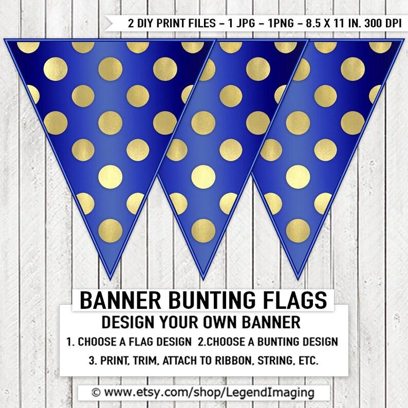 34113f0acba03 Royal Blue Gold Boy Baby Shower Banner Bunting Blue Gold Foil Dot