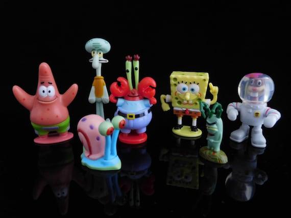 Vintage Toys, Collectible, Spongebob Birthday Party, Mr Krabs, Patrick,  Complete Series of 7 Figures, KINDER Surprise Figurines, cake topper