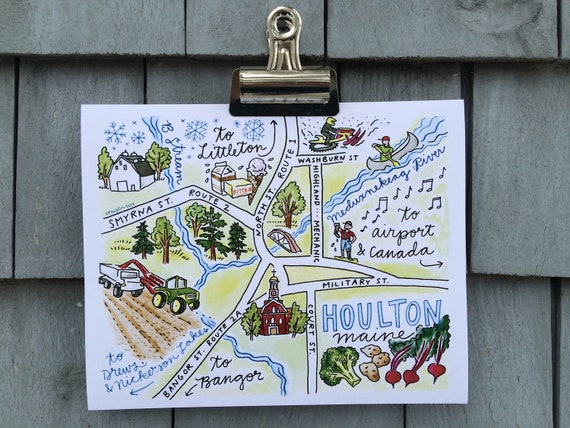 Houlton Maine, Illustrated Map Print, 8 x 10 inches