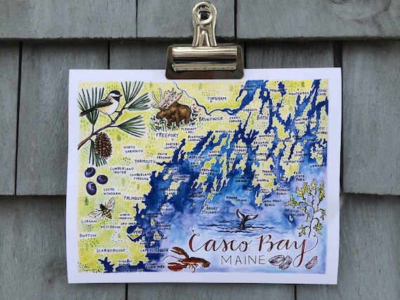 Casco Bay Illustrated Map Print