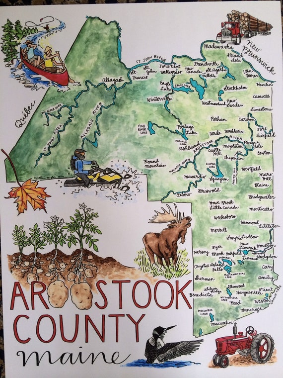 Aroostook County Illustrated Map Print, 18x24 inches