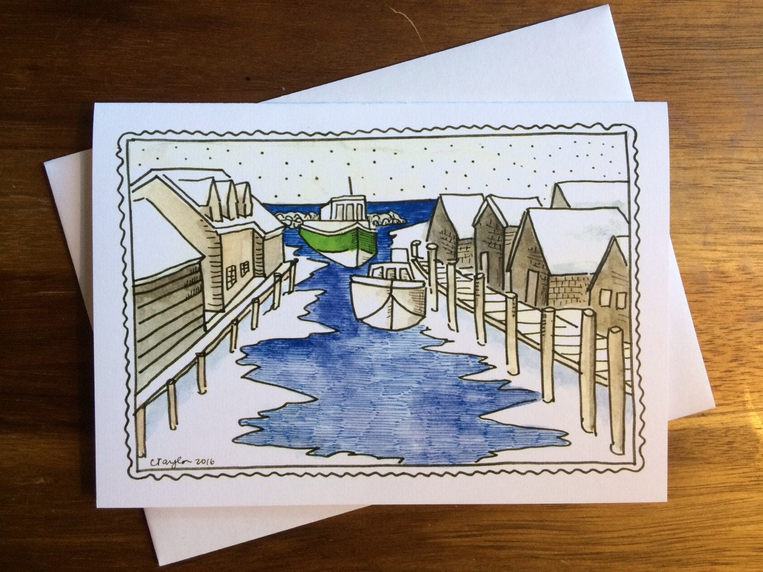 Leland Fishtown Winter Greeting Cards 5 X 7 Inches A7 Blank Inside