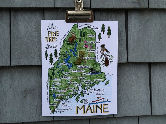 Illustrated Maine Map Print, Green, 8 x 10 inches