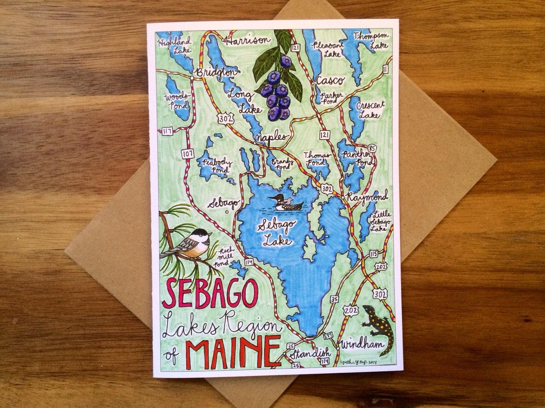 Sebago Lake Map Greeting Card 5 X 7 A7 Blank Inside