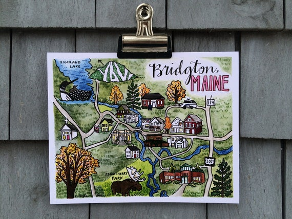 Bridgton Maine, Illustrated Map Print, 8 x 10 inches
