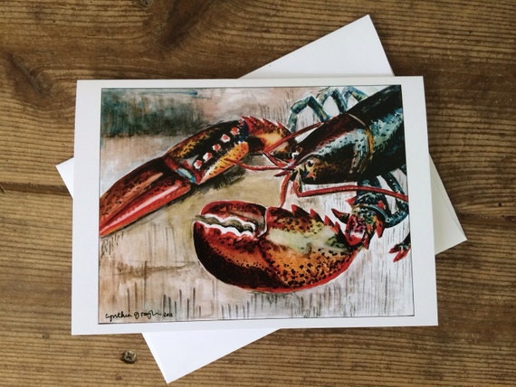 Maine Lobster Greeting Card, 5 x 7 (A7), blank inside