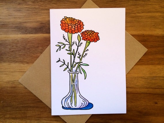 Marigold Bloom Greeting Card, 5 x 7 (A7), blank inside