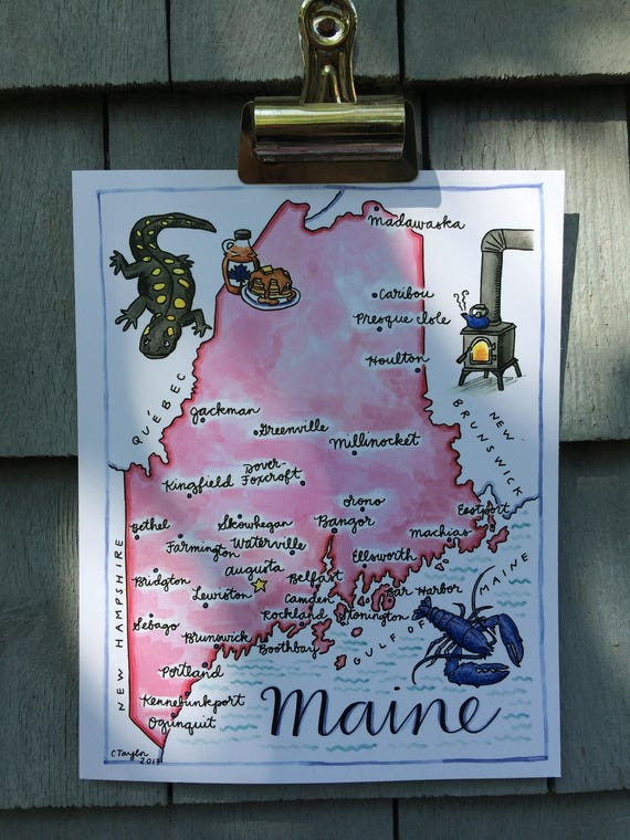 Illustrated Maine Map Print, Pink