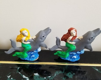 Ceramic Mermaid and Dolphin Statuette