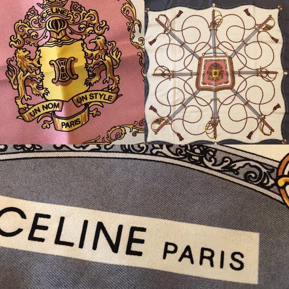 Foulard en Soie CÉLINE Paris Rose Gris Or Beige. Décor   Etsy fc6f4caadbc