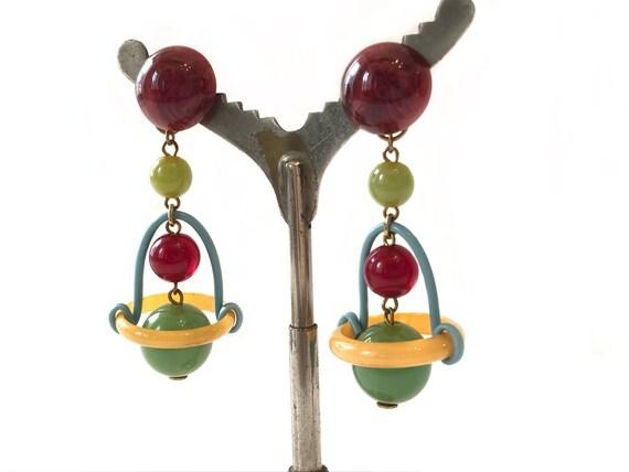 Oversized Bakelite Dangling Clip-On Earrings, 1960