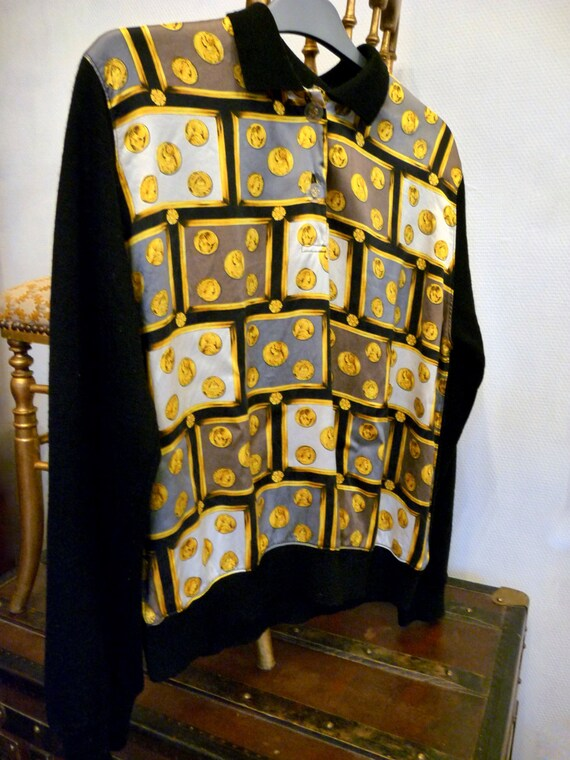 sweater pullover Vintage 1980s and style Vintage silk wool fashion Versace wqOOUtzBr