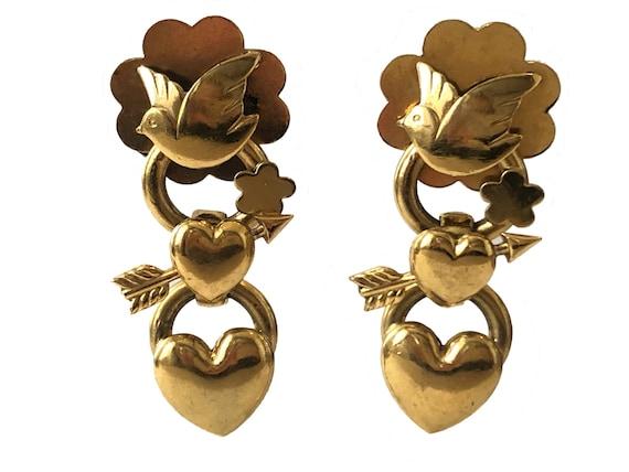 Zoé Coste Réminiscence Bird and Heart Gold Earring