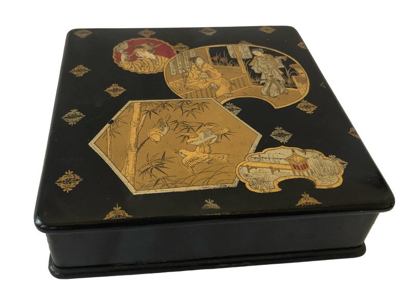 7ed5ee324b Antique French Napoleon III Square Black Lacquer Box, Chinese Gold Decor.