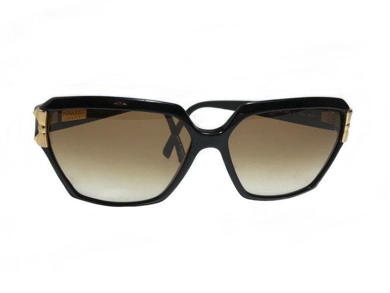 87f73ab8c6b9 Nina Ricci Sunglasses. Black Oversized 80s Sunglasses. Tinted   Etsy