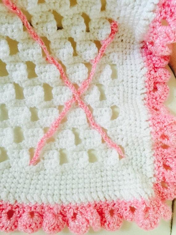 Vintage mano ganchillo rosa y blanco para bebés recién nacido | Etsy