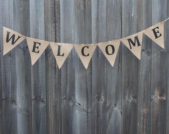 Customisable Burlap / Hessian WELCOME banner.