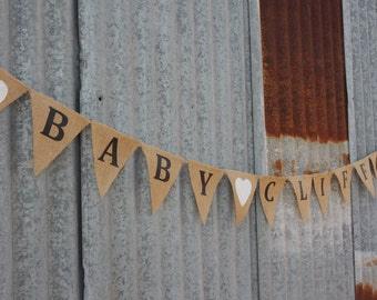 Customised Burlap / Hessian BABY and Surname Bunting with hearts. Baby shower bunting.