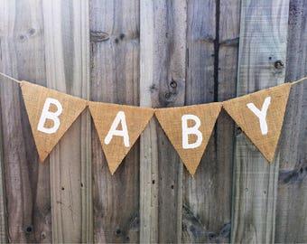 Customisable Burlap / Hessian BABY banner.