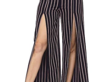 High waist Fromt open stripe pants
