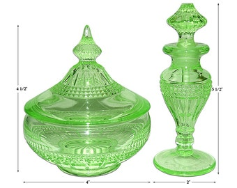 Cambridge Wetherford Green Perfume with Dauber & Puff / Powder Box / Vanity Set