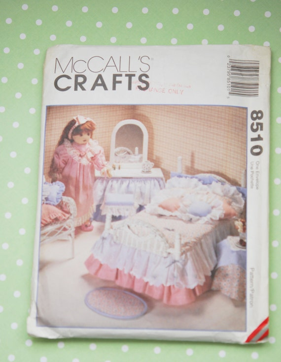 "McCalls 8510 18/"" Girl Doll Pattern Bedroom Accessories Bedspread Bed Blanket"