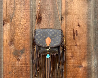 bc8d7293d Authentic Louis Vuitton St Cloud GM in Monogram Canvas Custom Braided  Leather and Fringe