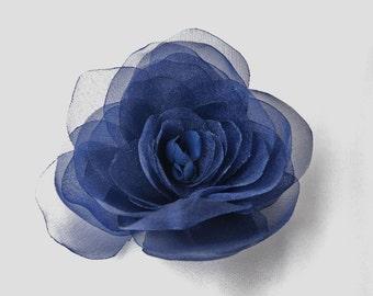 Dark navy organza flower hair clip;navy organza hair flower;navy bridal hair clip