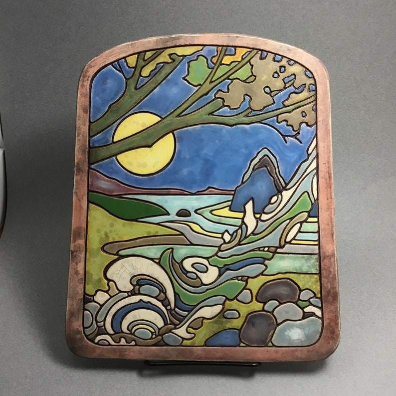 Handmade ceramic  art tile titled \u201cQuiet Waters\u201d