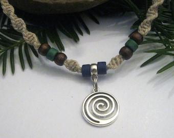 Hemp Necklace, Infinity, Infinity Swirl, Beaded Hemp Necklace, Hippie, Boho