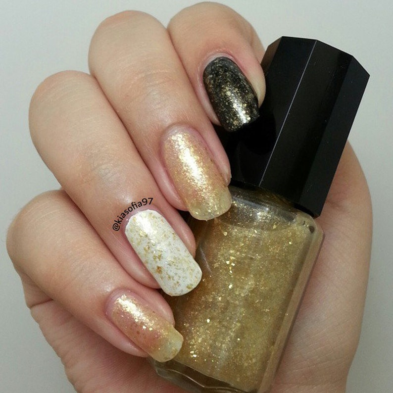 Gold glitter nail polish, gold flake indie nail polish, gold nail paint,  gold nail varnish, gold nail lacquer, gift for her