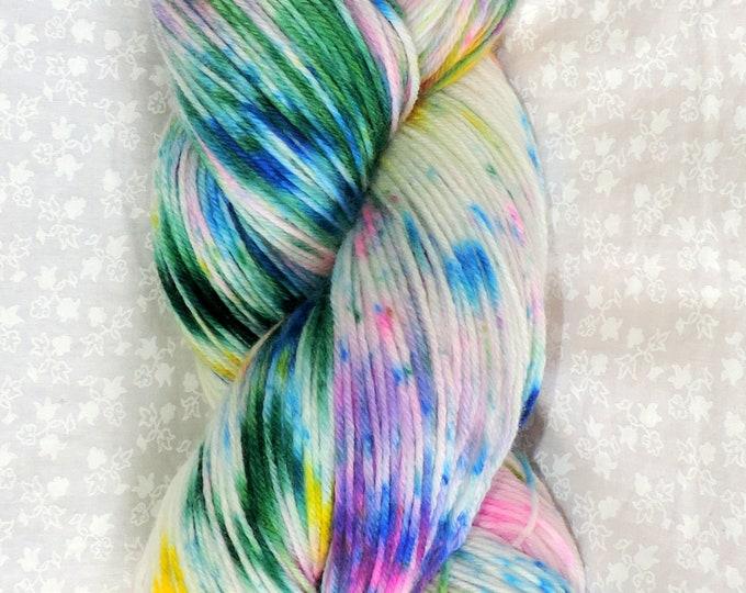 Sock Yarn, Hand Dyed, Superwash 75/25 Merino/Nylon. 100g, 462 Yards Speckled Fingering Weight, Crochet, Knit, Blue, Hot Pink, Purple, Green