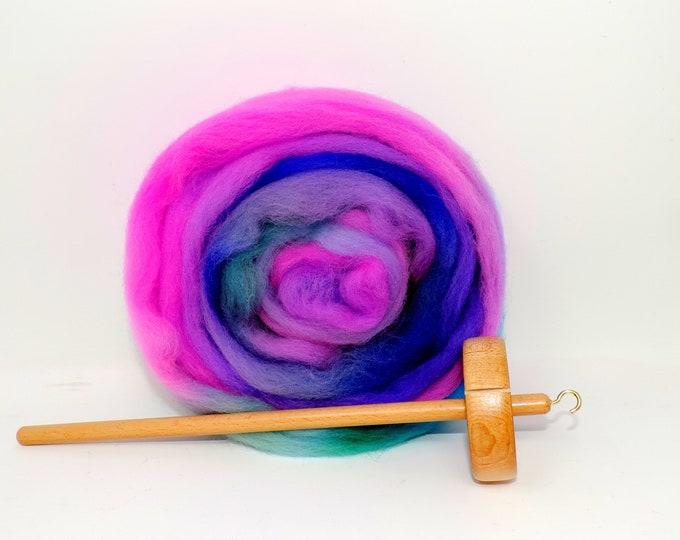 Beginner Top Whorl Drop Spindle Kit, Hand Dyed, Merino Wool, Pink, Purple, Green, Wool Roving Top, Spinning Kit, Colorful, Wood Spindle
