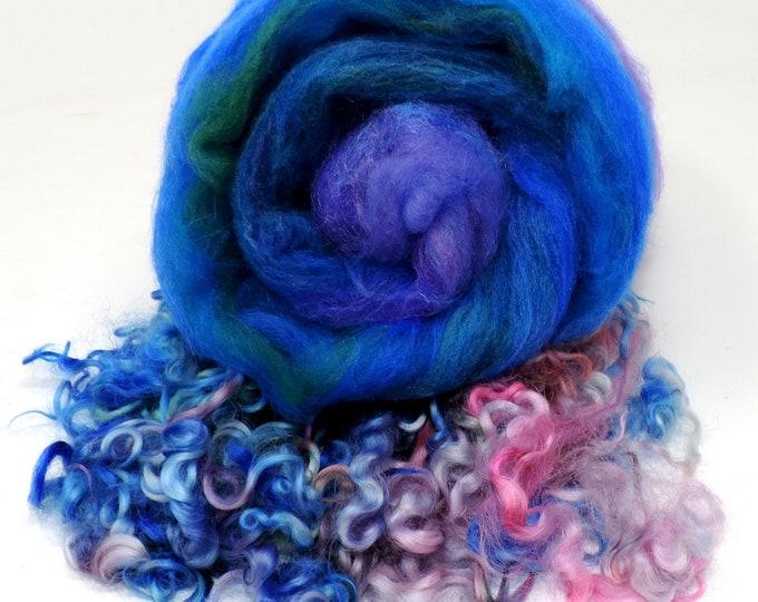 "Merino, Wool, Art Batt, 5"", Cotswold, Curly Locks, Hand Dyed, Carded Wool, 2.3 oz, Silk, Felting, Weaving, Spinning, Gnomes, Doll Hair,"