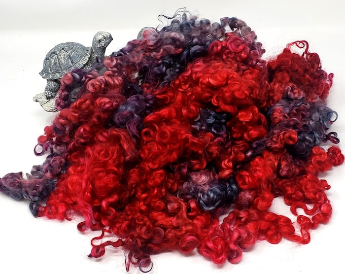 """2 oz, Leicester Longwool, Hand Dyed, Curly Locks, Red, Charcoal, Gray, Wool Fleece, up to 5"""", Doll Hair, Spinning, Weaving, Felting Wool,"""