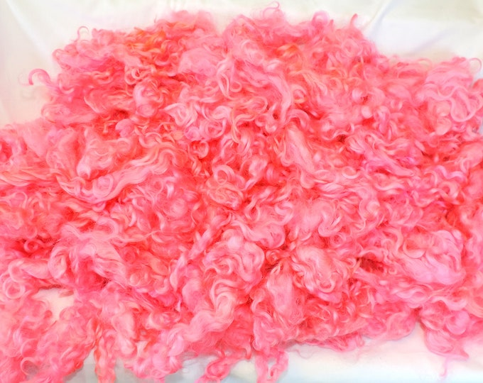 Pink, Kettle Dyed, Cotswold, Curly Locks, Wool Fleece 3-4 Inches, Felting, Doll Hair, Spinning, Gnomes, Batts, Weaving,