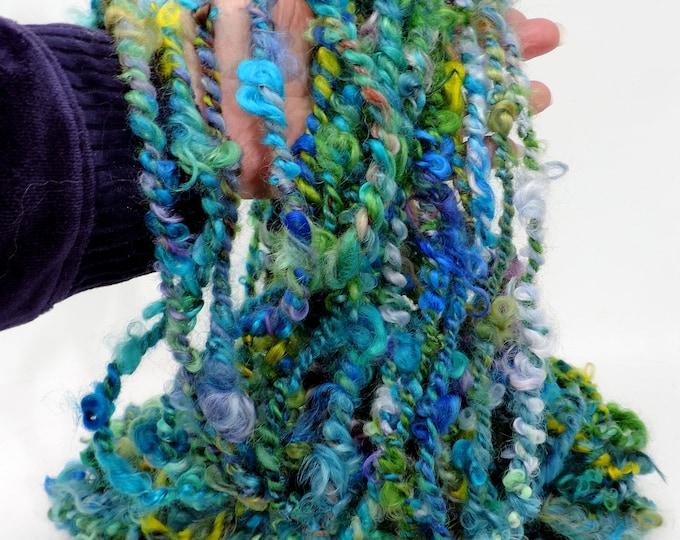 9.5 oz, Super Bulky, Handspun, Art Yarn, 269g, Lots of Color, 3 wpi, Hand Dyed, Hand Spun, Wool, Silk, Sparkle, Blue, PInk, Green, Yellow, +