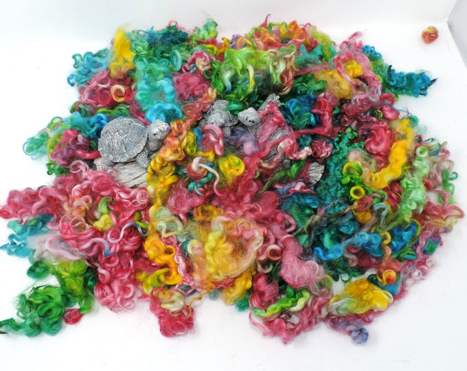Grab Bag, 2 ozs, Hand Dyed, Leicester Longwool, Cotswold, Colorful Curly Locks, Wool Fleece, Spinning, Felting, Weaving, Fiber Art Supply